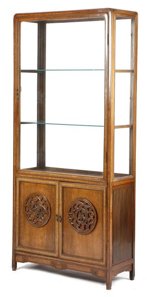 A CHINESE PADOUK AND AMBOYNA DISPLAY CABINET LATE 19TH / EARLY 20TH CENTURY with…