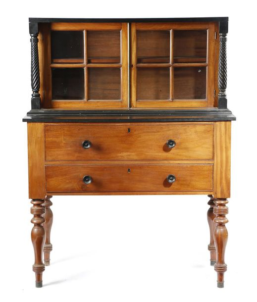 AN ANGLO INDIAN EBONY AND TEAK SECRETAIRE CABINET CEYLONESE, LATE 19TH CENTURY w…