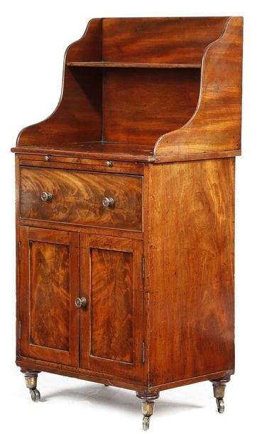 A GEORGE IV MAHOGANY SIDE CABINET EARLY 19TH CENTURY with flame figuring, the ga…