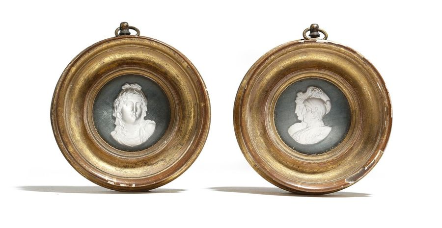 TWO GLASS SULPHIDE GRAND TOUR CLASSICAL RELIEF BUSTS EARLY 19TH CENTURY depictin…
