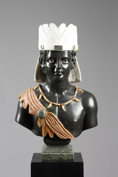 A VENETIAN STYLE BLACK, WHITE AND VARIEGATED MARBLE BUST OF A BLACKAMOOR PROBABL…
