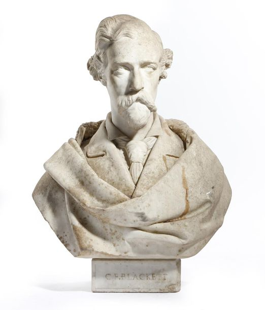 A VICTORIAN WHITE MARBLE BUST OF A GENTLEMAN LATE 19TH CENTURY wearing a jacket …