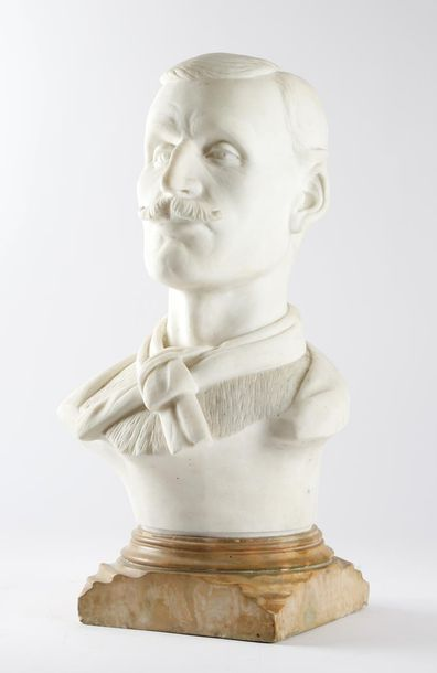 A MARBLE BUST OF A MOUSTACHIOED GENTLEMAN POSSIBLY FRENCH, LATE 19TH / EARLY 20T…