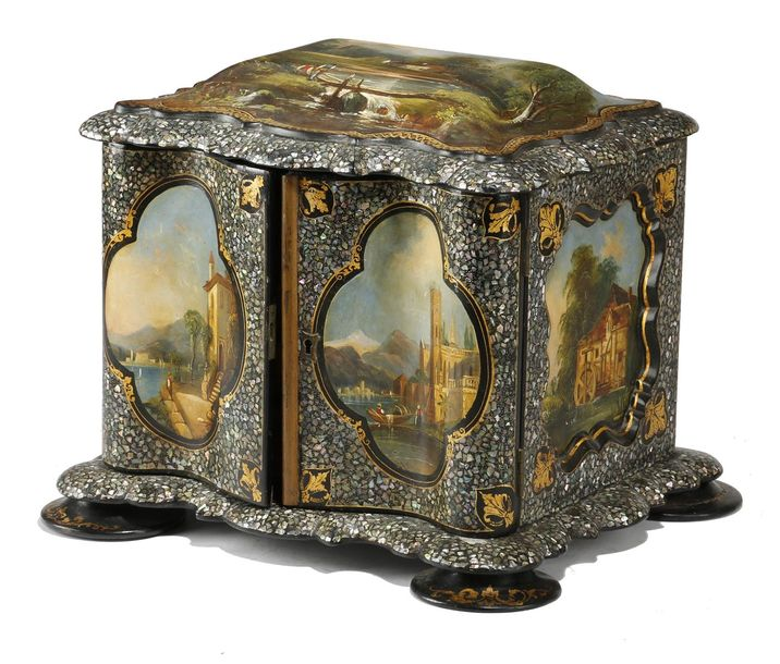 A VICTORIAN PAPIER MACHE NEEDLEWORK TABLE CABINET c.1850 painted with panels of …