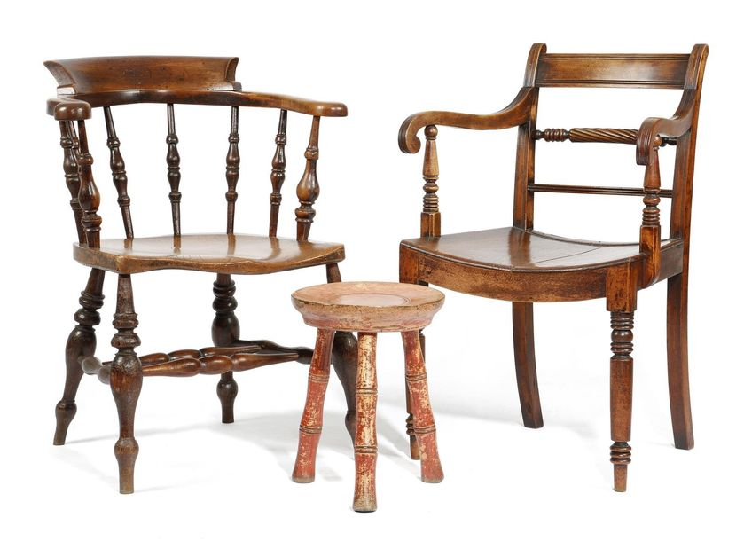AN EARLY 19TH CENTURY FRUITWOOD OPEN ARMCHAIR PROBABLY EAST ANGLIAN with a rope …