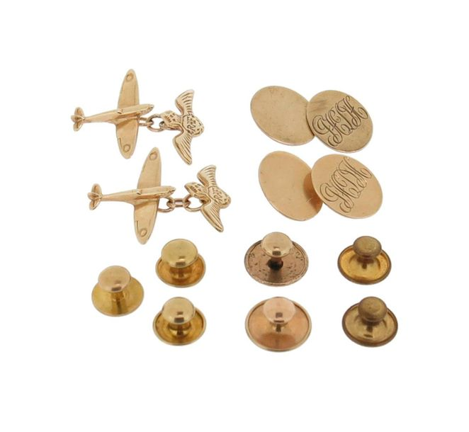 A pair of 9ct gold cufflinks, engraved with initials, case; a pair of gold cuffl…
