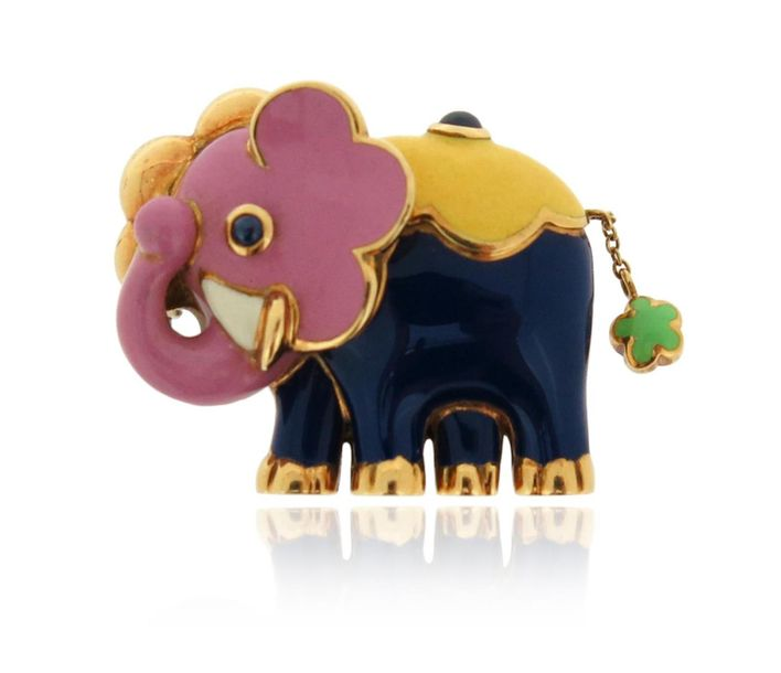 A gold and enamel elephant brooch, decorated with polychrome enamel and cabochon…