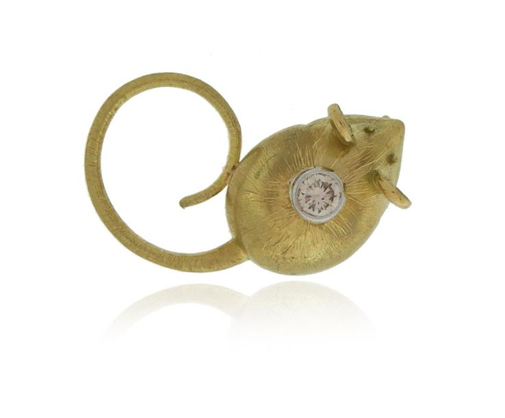 A diamond set gold mouse brooch by Leo de Vroomen, rubover set with a round bril…