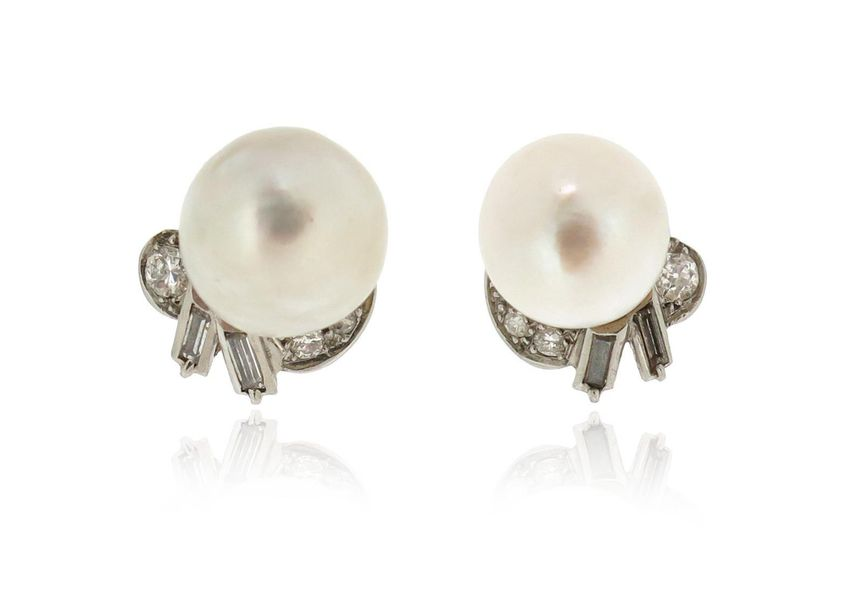 A pair of cultured pearl cluster earrings, the pearls measure approximately 12.1…