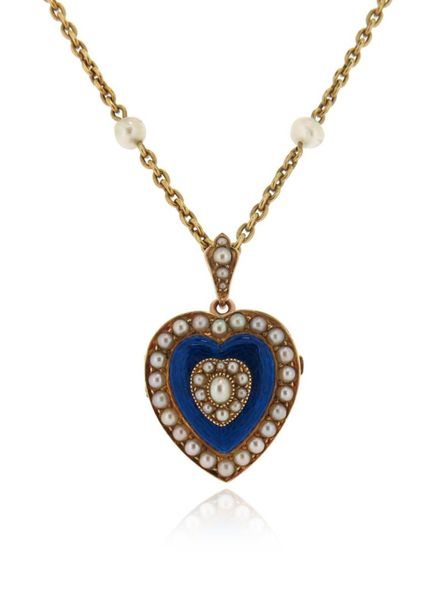 An Edwardian enamel and seed pearl gold heart pendant, brooch fitting to reverse…