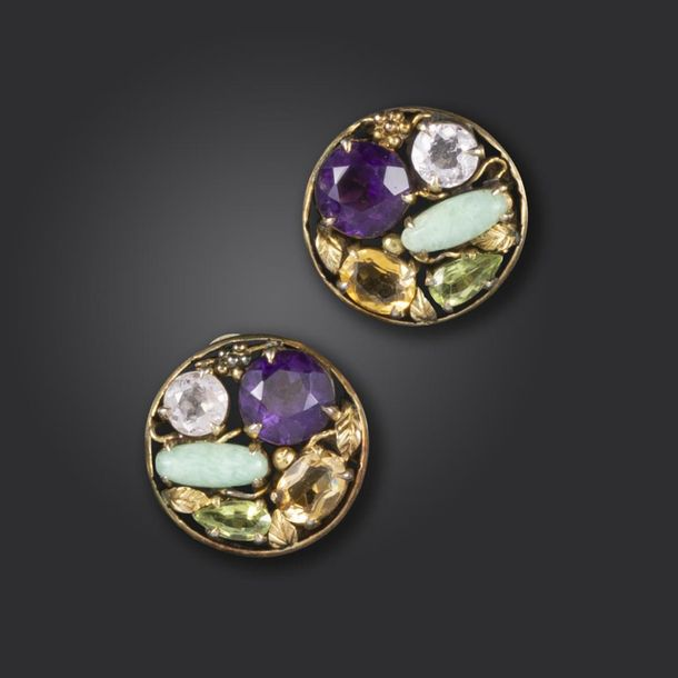 A pair of Arts and Crafts gem set silver earrings attributed to Dorrie Nossiter,…