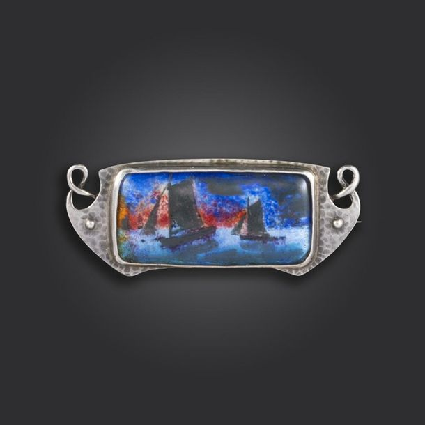 An Arts & Crafts silver and enamel brooch by Murrle Bennett & Co, set with an en…
