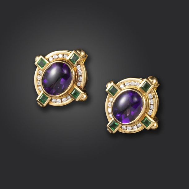 A pair of amethyst, emerald and diamond cluster earrings, the oval shaped amethy…