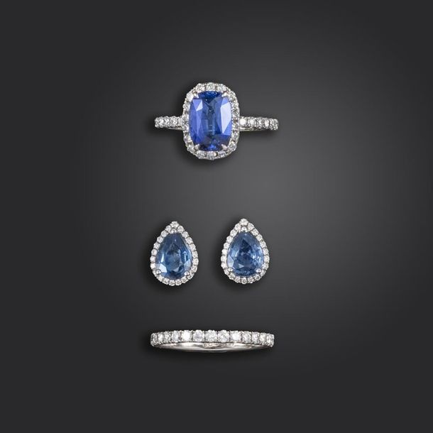 A sapphire and diamond suite of jewellery, including a sapphire and diamond clus…