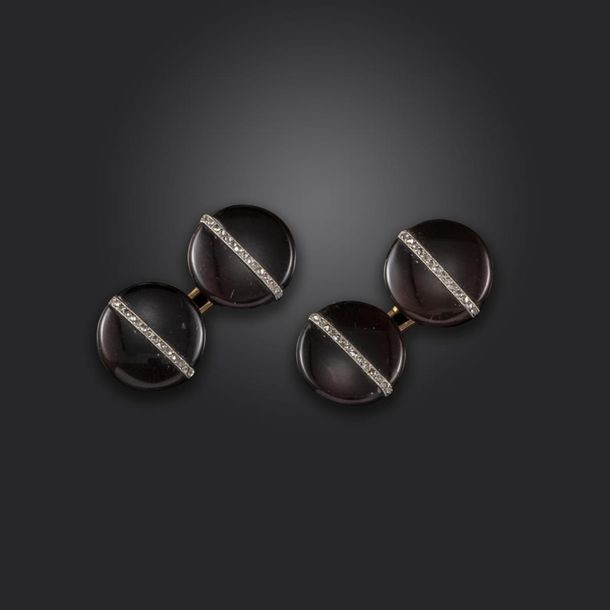 A pair of early 20th century French diamond set hardstone cufflinks, each agate …