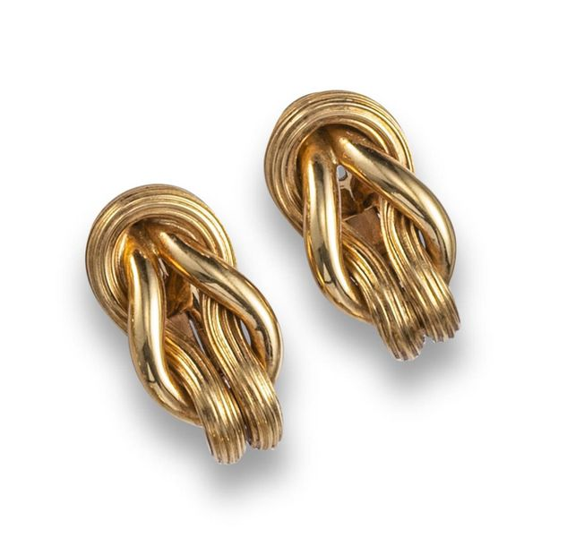 A pair of gold ropetwist earrings by Lalaounis, with textured and plain interloc…