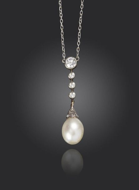 An early 20th century natural pearl and diamond pendant, the natural pearl with …