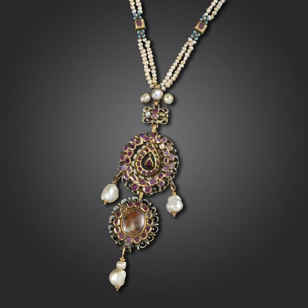 A late Renaissance ruby and pearl necklace, c1680, the pendant set with table cu…