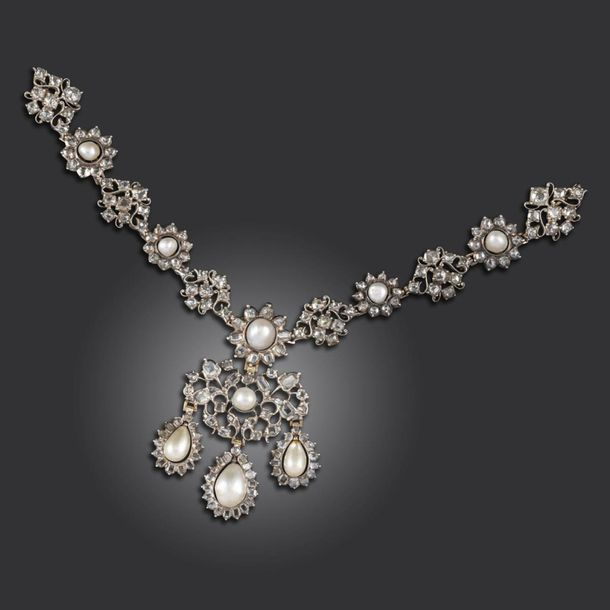 An 18th century natural pearl and diamond set silver necklace front section and …