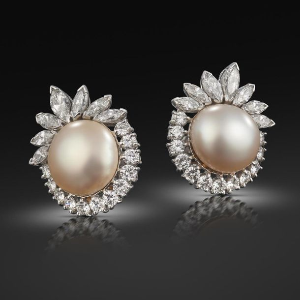A pair of natural pearl and diamond cluster earrings, the button shaped pearls a…