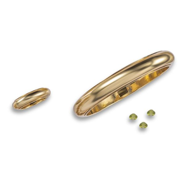 A gold and peridot rattle bracelet attributed to John Reinhold and Marc Jacobs, …