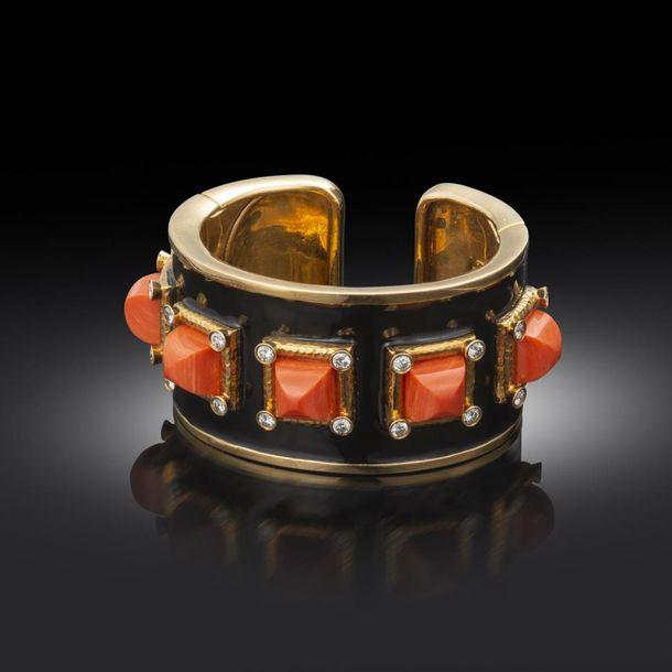 A coral, enamel and diamond ~Bastille~ bangle by David Webb, from the Manhattan …