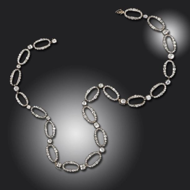 A 19th century diamond necklace, formed from alternating diamond set oval links …