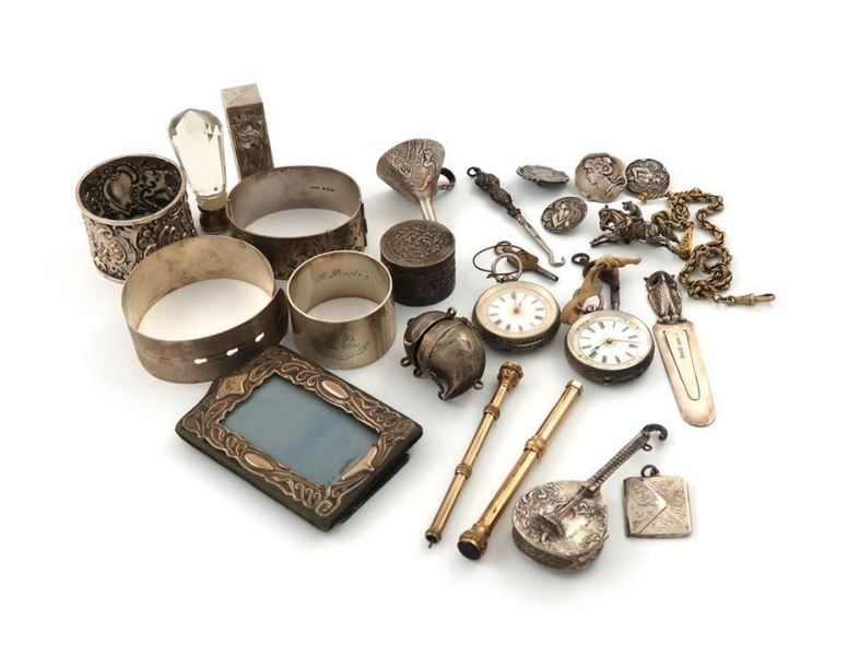 A mixed lot of silver items, various dates and makers, comprising: an owl page m…