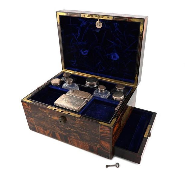 A Victorian silver mounted travelling dressing table set, by William Neale, Lond…