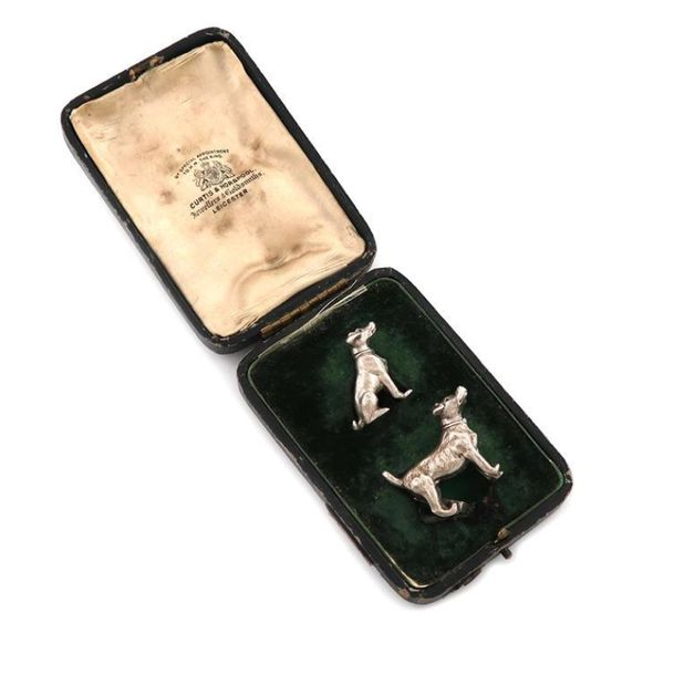 A pair of novelty silver dog menu card holders, by William Hornby, London 1910, …