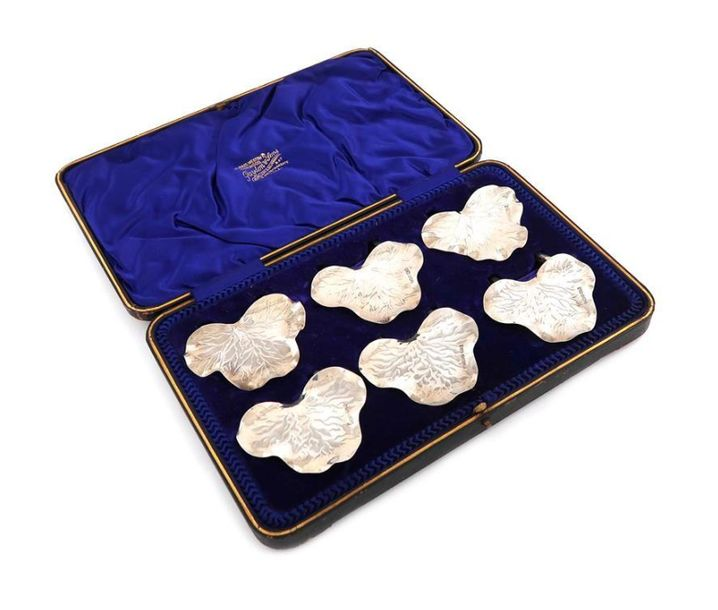 A set of six Edwardian silver menu card holders, by Joseph Rodgers, Sheffield 19…