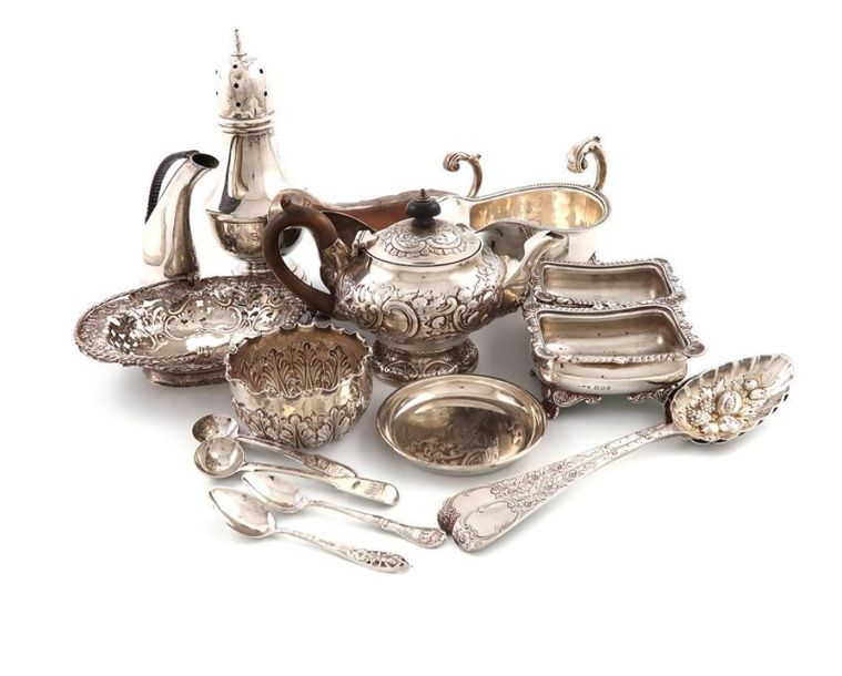 A mixed lot of silver items, various dates and makers, comprising: two sauce boa…
