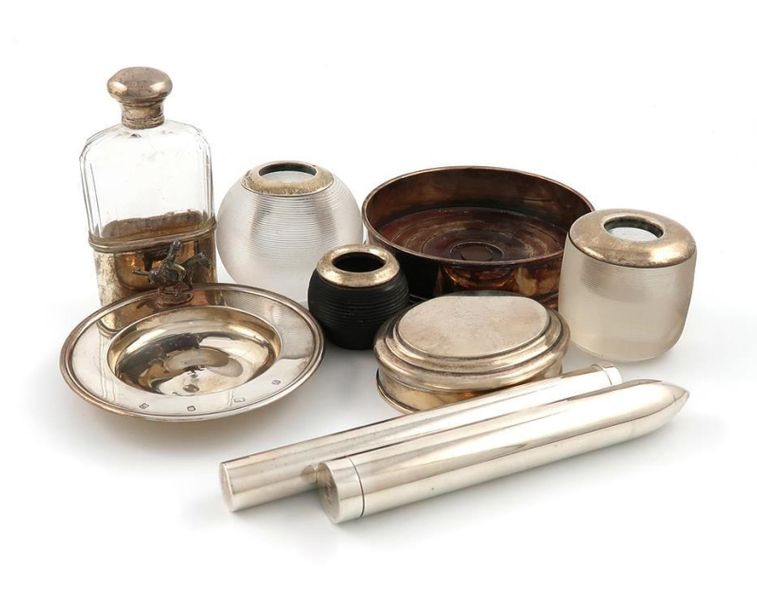 A mixed lot of silver items, various dates and makers, comprising: a modern ciga…