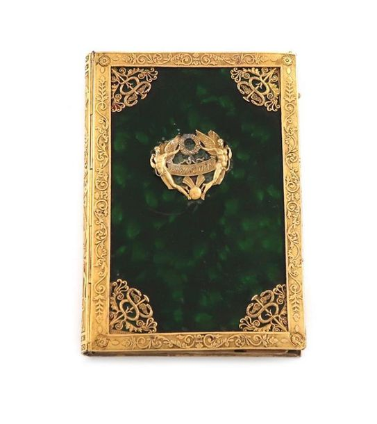A 19th century French gilt metal mounted aide memoire, rectangular form, the mou…