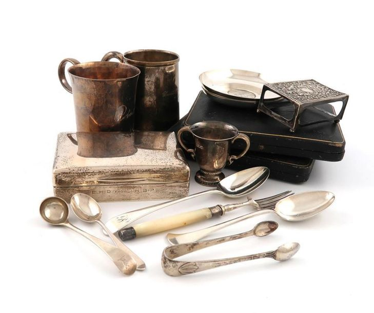A mixed lot of silver items, various dates and makers, comprising: a christening…