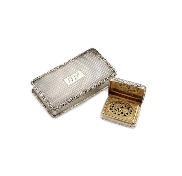 A George IV silver vinaigrette, by William Ellerby, London 1825, rectangular for…