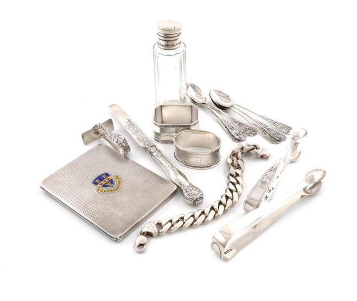 A mixed lot of silver items, comprising: a silver and enamel cigarette case, by …
