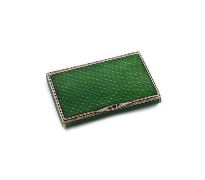A silver and enamel cigarette case, with import marks for London 1926, importer~…