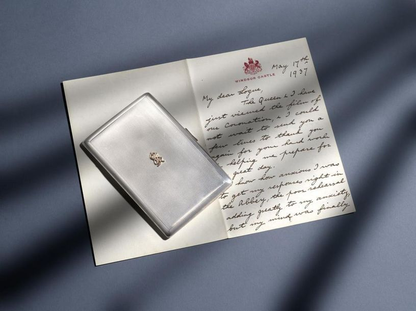 A Royal presentation cigarette case and accompanying letter from George VI to Li…