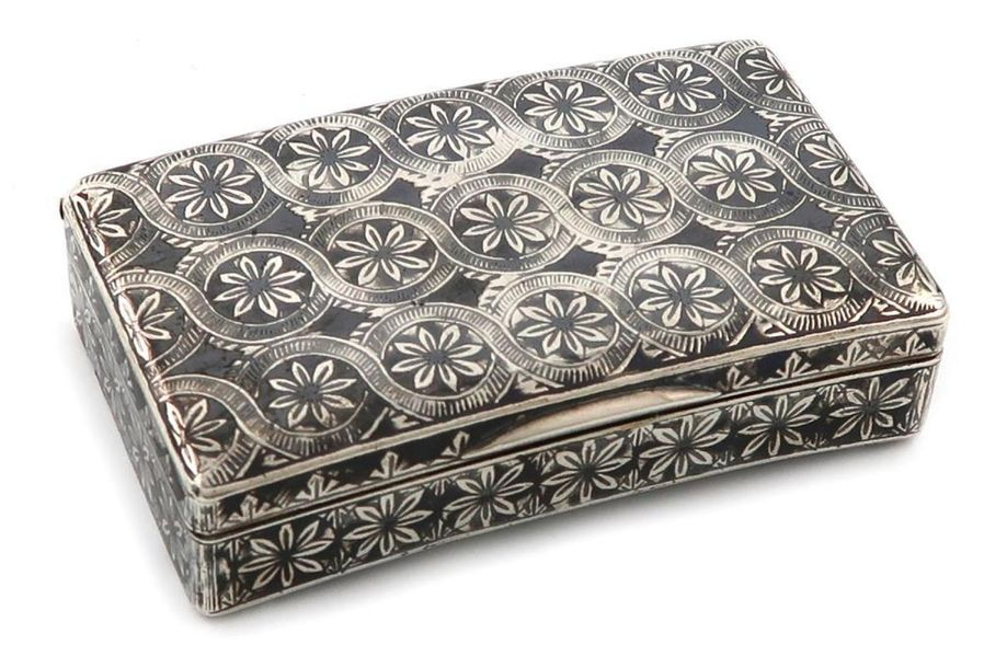 A 19th century Russian silver and niello work snuff box, assay master I. Avdeyev…