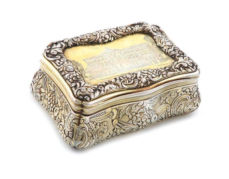 A large silver gilt engraved ~castle top~ table snuff box, by John Linnit, Londo…