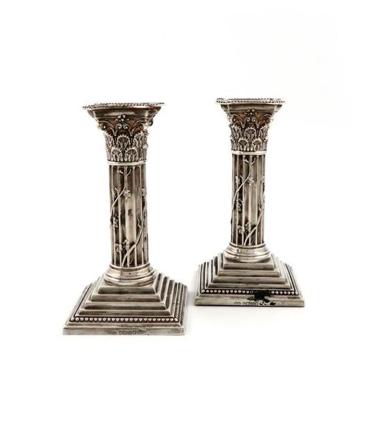A pair of Victorian silver candlesticks, by The Harrison Brothers, Sheffield 188…