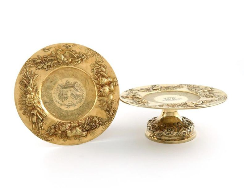 A pair of 17th century silver gilt German tazza tops with Victorian silver gilt …