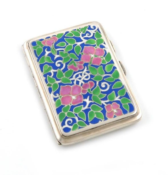 By Bernard Instone, an Arts and Crafts silver and enamel cigarette case, Birming…