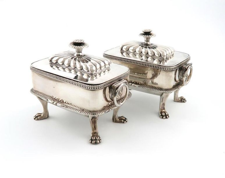 A pair of George III Old Sheffield plated sauce tureens and covers, circa 1810, …