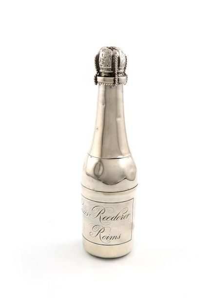 A French novelty electroplated Champagne bottle, by L. Roussel, B de la Madeline…
