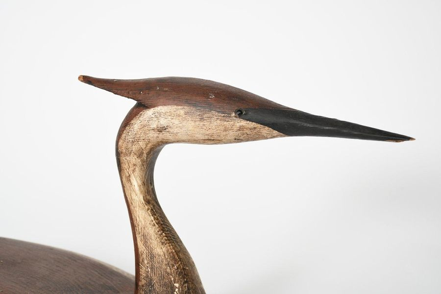 ‡Guy Taplin (b.1939) Grebe painted wood sculpture incised signature Guy Taplin a…