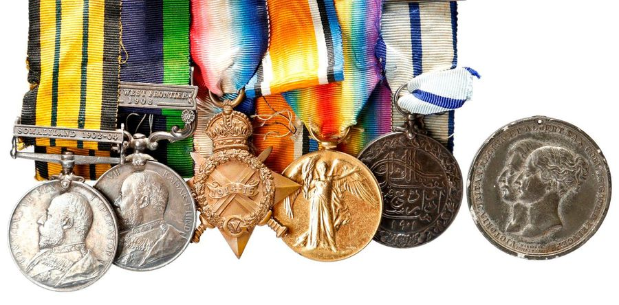 Five medals to Major J. S. Crosthwaite, Indian Army: Africa General Service 1899…