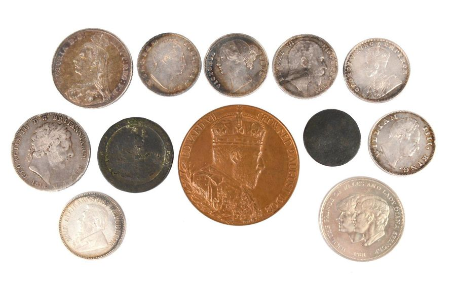 A small collection of coins and other numismia, comprising: Britain: George III,…