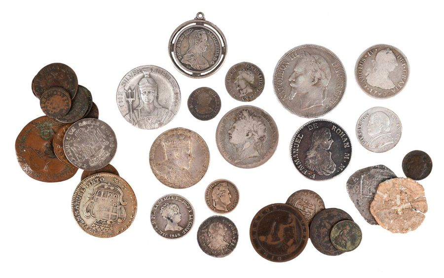 A quantity of world coins and exonumia, including three Spanish commemorative me…